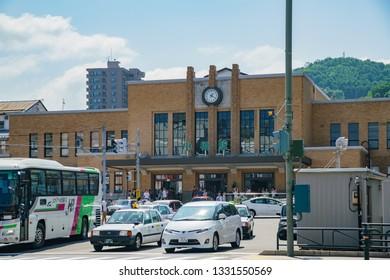 Hokkaido, AUG 6: Exterior view of the Otaru train station on Aug 6, 2017 at Hokkaido, Japan