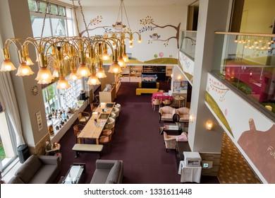 Hokkaido, AUG 6: Interior view of the beautiful Hotel Naturwald Furano on AUG 6, 2017 at Hokkaido, Japan