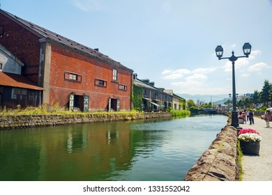 Hokkaido, AUG 7: The famous Otaru canal on AUG 7, 2017 at Shiribeshi Subprefecture, Hokkaido, Japan
