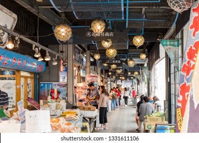Hokkaido, AUG 8: The main street of Nijo Market on Aug 8, 2017 at Hokkaido, Japan