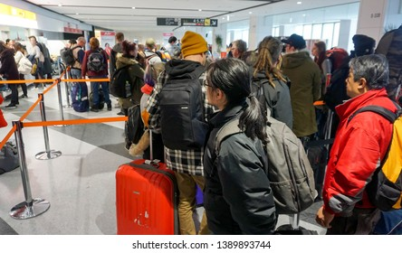 Hokkaido, Japan 15 February 2018 : Image of many tourists waiting for check in front of Jetstar airline counter in New Chitose airport. Jetstar is a low-fare Japanese airline serves 14 destinations