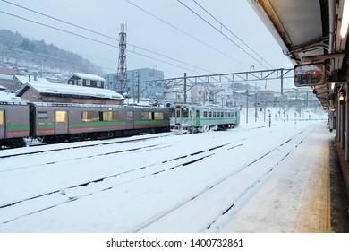 HOKKAIDO, JAPAN: 18 May, 2019 : Local train at Hokkaido, Japan In the winter, we will see snow full of snow. Snow is a lump in front of the train, the Hokkaido Railway Company (JR Hokkaido)