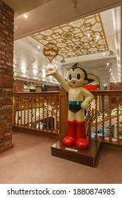Hokkaido, Japan - December 14, 2011 : Atom (Astro Boy) animation statue in Shiroi Koibito Park (Ishiya Chocolate Factory) on December 14, 2011 at Sapporo, Hokkaido, Japan.