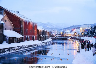 Hokkaido, Japan - Feb, 2019: Otaru Canal in Winter. It is beautiful scene of Otaru canal with old warehouses. It is a popular tourist attraction of Hokkaido, Japan.