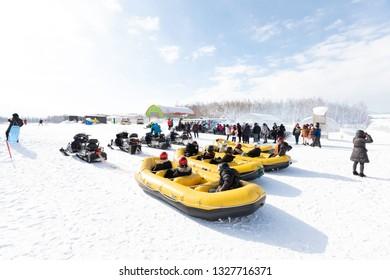 Hokkaido, Japan. Feb 27 2019 Shikisai-no-oka Farm, Snowmobiles activity in the winter, As a favorites for tourist when visiting hokkaido.