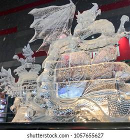 Hokkaido, Japan - February 11, 2018: dragon ice sculpture at the 69th Sapporo Snow Festival, Japan