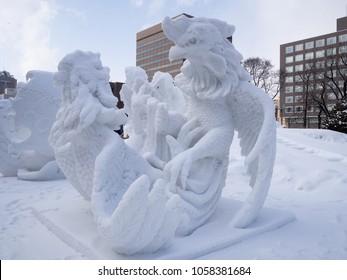 Hokkaido, Japan - February 11, 2018: Thai cockfight snow sculpture at the 69th Sapporo Snow Festival