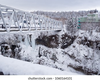 Hokkaido, Japan - February 14, 2018: tourists visiting Shirahige Waterfall in winter, Biei, Hokkaido, Japan