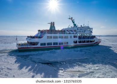 HOKKAIDO, JAPAN - Febuary 9: Sea of Okhotsk on Febuary 9,2018 in Hokkaido,Japan. Abashiri Drift Ice with Tourist cruise on the Sea of Okhotsk