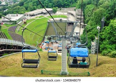 Hokkaido, Japan - July 22, 2018: Chair lift moving from Okurayama Observatory (Okurayama Ski Jump) Sapporo, Hokkaido, japan.