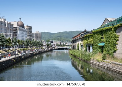 Hokkaido, Japan - July 9, 2019 : Otaru canal in summer on July 9, 2019. Otaru canal is a landmark of Otaru city, Hokkaido, Japan.