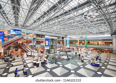 HOKKAIDO, JAPAN - June 20, 2018 : Wide view of New Chitose Airport with travelers and people.