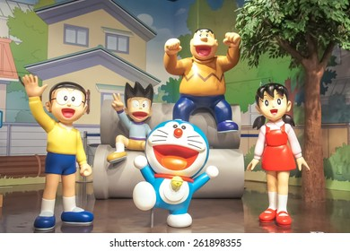 HOKKAIDO, JAPAN - JUNE 6, 2014: Photo of Doraemon and friends mascot figure at DORAEMON WAKU WAKU SKY PARK, New Chitose Airport. Doraemon is an all time famous Japanese movie series and TV cartoon.