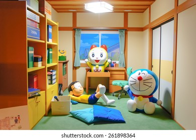 HOKKAIDO, JAPAN - JUNE 6, 2014: Photo of Doraemon and friends in Nobita's room at DORAEMON WAKU WAKU SKY PARK, New Chitose Airport. Doraemon is an all time famous Japanese movie series and TV cartoon.
