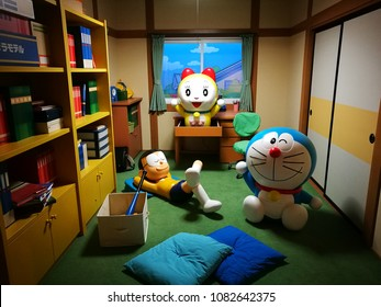 Hokkaido, Japan - May 11, 2017 : Doraemon, Doraeme and Nobita model in Doraemon Wakuwaku Sky Park, New Chitose Airport, Hokkaido, Japan