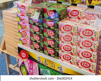 HOKKAIDO, JAPAN - OCTOBER 16, 2013: Japanese Sweets Snack in new chitose airport duty free shop green tea matcha, sakura-matcha, and strawberry cheesecake Kit Kat, Nestle Crunch Mount Fuji Edition
