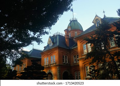 Hokkaido, Japan - October 29, 2019 : View of the former Hokkaido Government Office Building or Red Brick Office during autumn at Sapporo