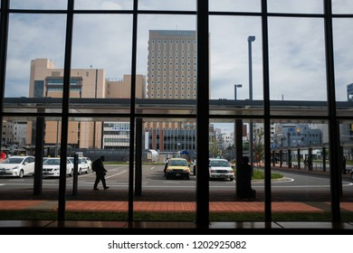 Hokkaido, Japan - September 3, 2018 : View of the town center looking out from Asahikawa station at Hokkaido