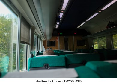 Hokkaido, Japan - September 4, 2018 : View of interior of a train travelling to Wakkanai at Asahikawa Station