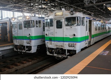 Hokkaido, Japan - September 4, 2018 : Two trains lining up at a platform at Asahikawa Station