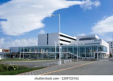 Hokkaido, Japan - September 7, 2018 : Exterior view of Japan's north most train station at Wakkanai