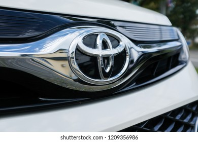 Hokkaido, Japan - September 8, 2018 : Close up of a Toyota car logo at Wakkanai city