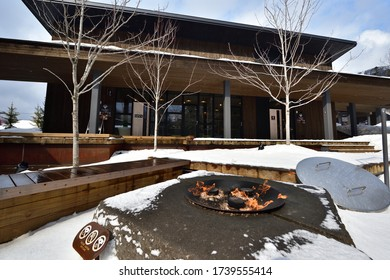 Hokkaido, Japan-February 25, 2019: Snowy winter and warm fire in cold weather