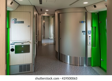 HOKKAIDO,JAPAN - APRIL 19,2016 : Wheelchair accessible toilets and Multi-purpose space in H5 Series bullet(High-speed) train. H5 Series enter service in March 26,2016 for Hokkaido Shinkansen line.
