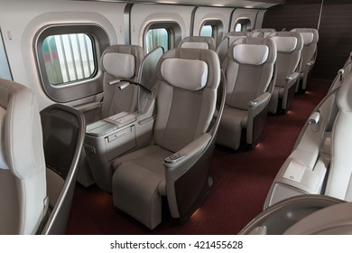 HOKKAIDO,JAPAN-APRIL 19,2016:The Gran class seats of E5 Series bullet(High-speed) train in. This is the most luxury seat class. E5 is the first train that has Gran class, enter service in March 2011.