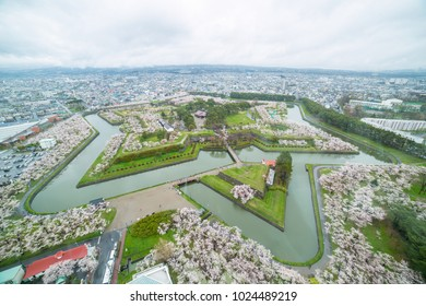 Hokodate Goryokaku with Cherry blossom garden on top view .