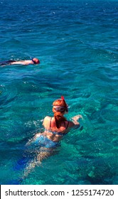 Hol Chan Marine Reserve, Belize, Caribbean Sea, snorkelers, January 22, 1999