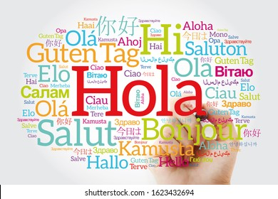 Hola! (Hello Greeting in Spanish) word cloud in different languages of the world with marker, background concept