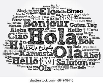 Hola (Hello Greeting in Spanish) word cloud in different languages of the world, background concept