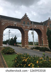Holambra city gateway in winter, São Paulo, Brazil. Holambra is the major flower production and dutch immigrant citizens in Brazil.