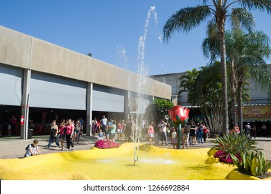 HOLAMBRA, SAO PAULO, BRAZIL - 23-SEPTEMBER, 2018: view of the fountain fair