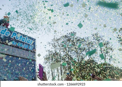 HOLAMBRA, SAO PAULO, BRAZIL - 23-SEPTEMBER, 2018: traditional rain of petals at the end of 37ª Expoflora Flower Fair in Holambra, out of focus