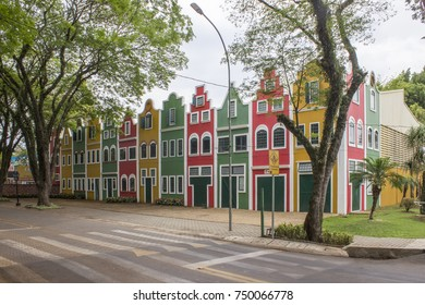 HOLAMBRA, SAO PAULO, BRAZIL - OCTOBER 31, 2017: Colorful front of Expoflora Flower Fair in Holambra, São Paulo, Brazil, photographed on October 31, 2017