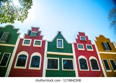 HOLAMBRA, SAO PAULO, BRAZIL - September 07, 2018: Colorful front of Expoflora Flower Fair in Holambra, São Paulo, Brazil