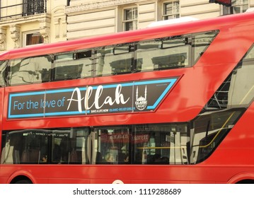 Holborn, London, UK. Jun 22 2018. A red London bus carries a muslim charity message promoting the cause Islamic Relief. Each year London red buses carry positive Islamic messages to support Ramadan