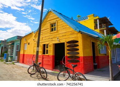 Holbox Island colorful Caribbean houses in Quintana Roo of Mexico