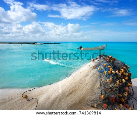 Holbox Tropical Island Fishing Nets In Quintana Roo Of Mexico