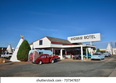 Holbrook, Arizona - July 23, 2017: Wigwam Motel on historic route 66 on July 23, 2017 in Holbrook, Arizona. The rooms of this hotel are built in the form of tipis.