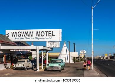 HOLBROOK, ARIZONA - JUNE 30, 2007: The Famous Wigwam Motel along the road 66 located in Holbrook, Arizona.