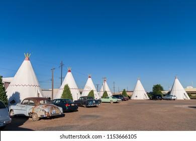 HOLBROOK, ARIZONA - JUNE 30, 2007: The Famous Wigwam Motel along the US route 66 located in Holbrook, Arizona.