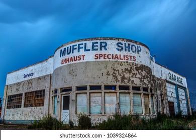 Holbrook, Arizona USA - September 5, 2017: Abandoned Auto Shop on Historic Route 66 photographed at night in Holbrook, Arizona USA