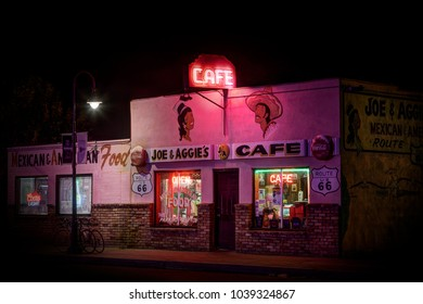 Holbrook, Arizona USA - September 5, 2017: Famous Joe and Aggies vintage cafe photographed at night on historic Route 66 in Holbrook, Arizona USA