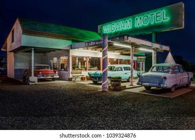 Holbrook, Arizona USA - September 5, 2017: Famous Wigwam Motel on Historic Route 66 photographed at night in Holbrook, Arizona USA