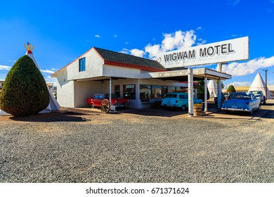 Holbrook, AZ USA - October 29, 2016: The Wigwam Motel with its tipee style rooms and vintage cars is a popular tourist destination in this small desert town near the Petrified Forest.