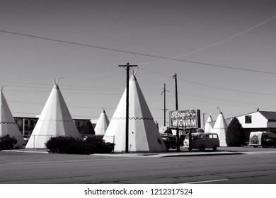 Holbrook, AZ, USA, Sept. 23, 2007: The Wigwam Motel remains open as an iconic an iconic landmark along the ledgendart Route 66 in Arizona.