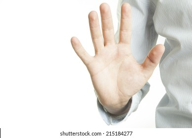 Hold on, Stop gesture showed by men hand